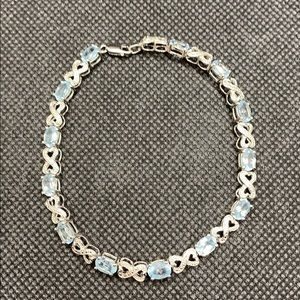 Infinity Bracelet Blue Topaz & Diamonds 925 Silver